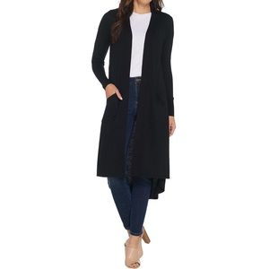 H By Halston Black Duster Cardigan